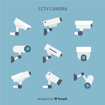 Cctv camera collection with flat design