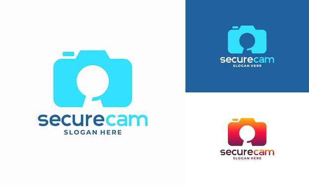 Вектор дизайна шаблона логотипа камеры видеонаблюдения, символ значка шаблона логотипа secure cam