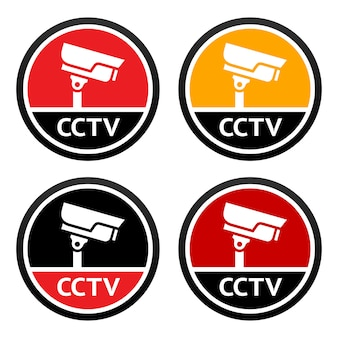 Cctv icon set sign