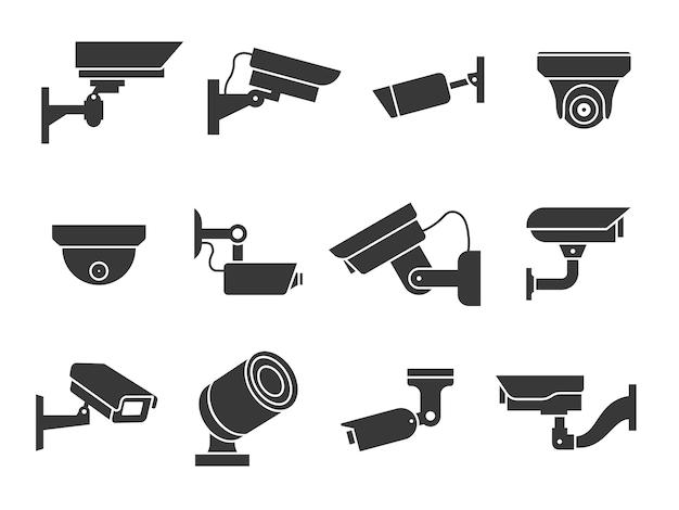 Иконки видеонаблюдения. камера видеонаблюдения, охранное оборудование, видеонаблюдение для улицы, дома и здания, частное и промышленное наблюдение, предупреждение о преступлении, цифровые векторные знаки безопасности