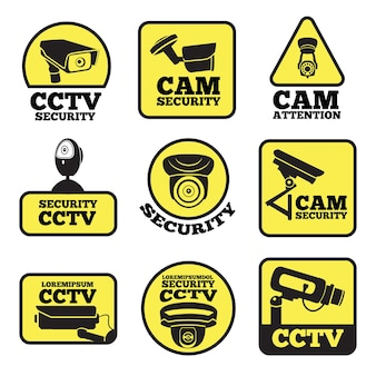 Cctv labels.  illustrations with security cameras symbols. camera surveillance for security and safety protection,