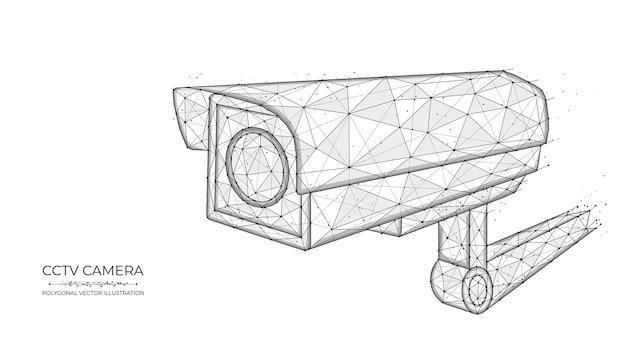 Низкополигональная система видеонаблюдения. векторная иллюстрация многоугольной камеры видеонаблюдения.