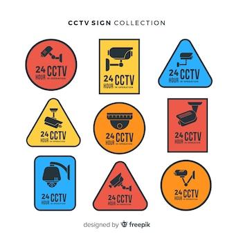 フラットデザインの現代cctv sign collection