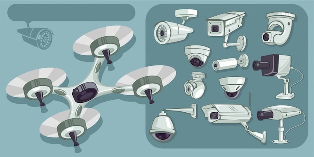 Cctv vector icons set. cameras security and surveillance to protect and defend for home and office. cartoon illustration isolated