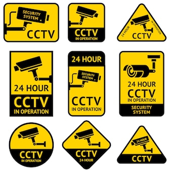 Cctv video surveillance security camera sticker
