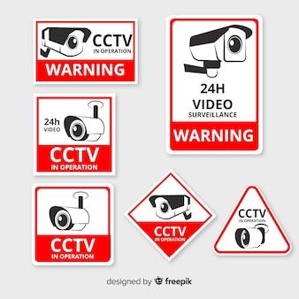Современная коллекция знаков cctv с плоским дизайном