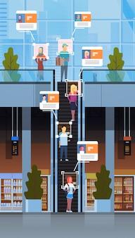 小売店の訪問者が移動する階段エスカレーター識別顔認識現代のショッピングモールインテリアセキュリティカメラ監視cctvシステム垂直