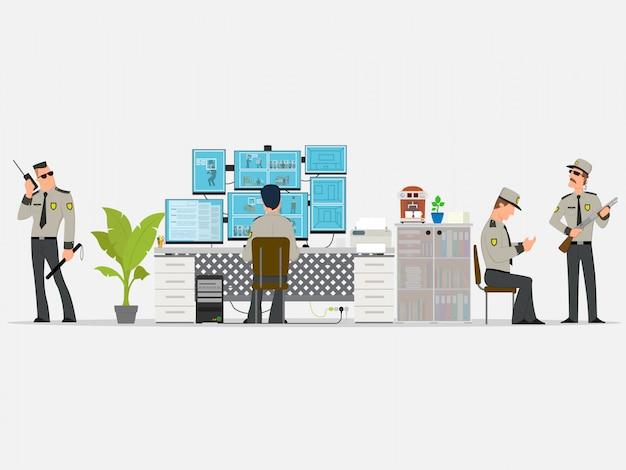 働く専門家がいるセキュリティルーム。監視カメラ。 cctvまたは監視システムのコンセプト。