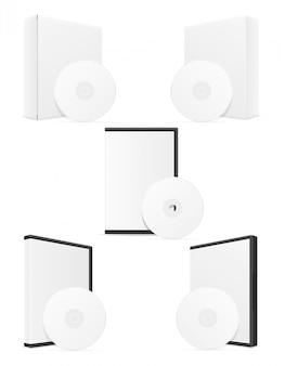 Компакт-диск и dvd-диск bisk коробка упаковки векторная иллюстрация