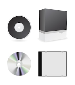 Cd box and case   icon set