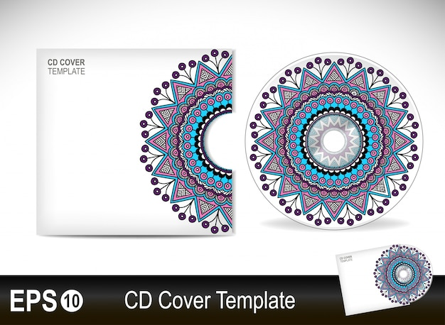 Cd cover template in blue mandala style