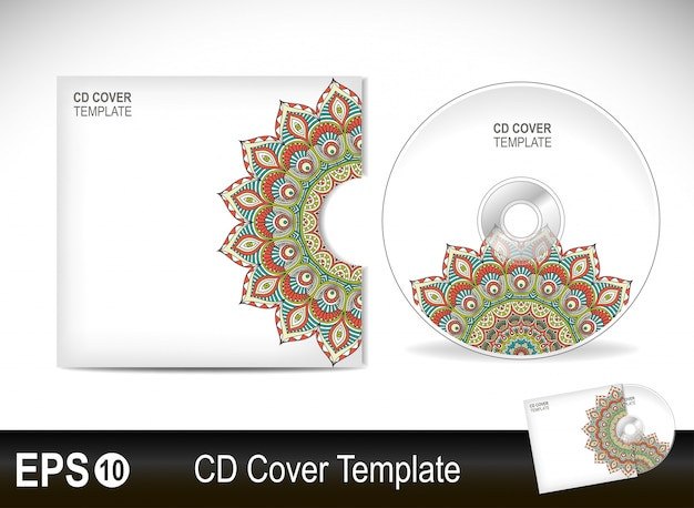 Cd cover template in mandala style