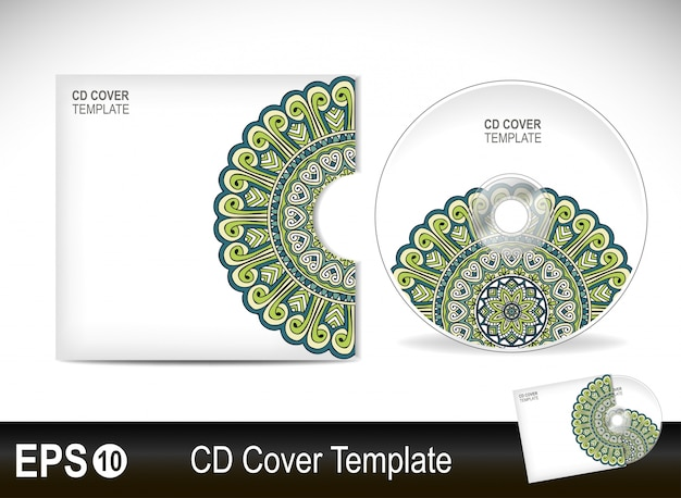 Cd cover template with mandala