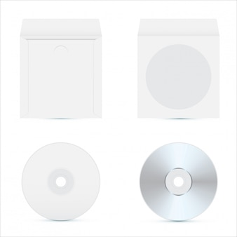 Cd диск макет. реалистичный дизайн упаковки.