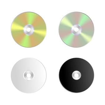 Cd dvd изолированный значок компакт-диск реалистичный набор