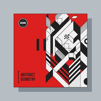 抽象的な幾何要素を持つ正方形の背景デザインテンプレート。 cdカバー、広告、ポスターに便利です。
