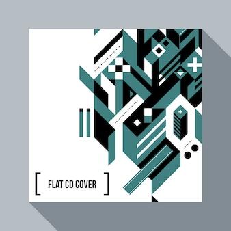正方形の未来的な背景/抽象的な幾何要素を持つcdカバー。未来主義と現代的な落書きのスタイル。