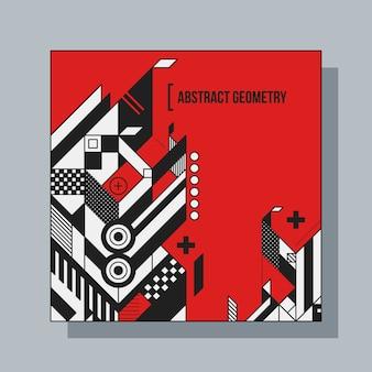 抽象的な幾何要素を持つ正方形のテンプレート。 cdカバー、広告、ポスターに便利です。