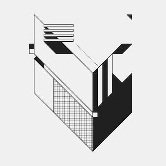 Абстрактный геометрический элемент на белом фоне. полезно как обложка cd, печать или плакат.
