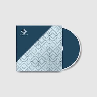 Синий фирменный шаблон обложки cd