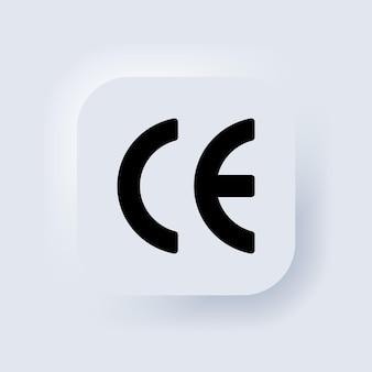 Значок ce. знак сертификата. элементы для мобильных концепций и веб-приложений. белая веб-кнопка пользовательского интерфейса neumorphic ui ux. неоморфизм. вектор eps 10.