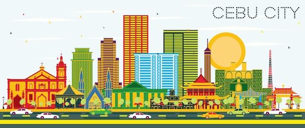 色の建物と青い空とセブ市フィリピンのスカイライン。ベクトルイラスト。近代建築とビジネス旅行と観光の概念。ランドマークのあるセブ市の街並み。