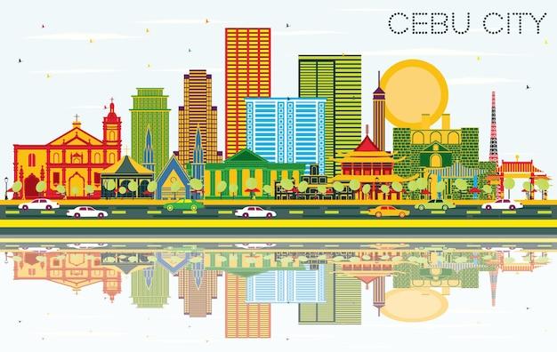 色の建物、青い空と反射とセブ市フィリピンのスカイライン。ベクトルイラスト。近代建築とビジネス旅行と観光の概念。ランドマークのあるセブ市の街並み。