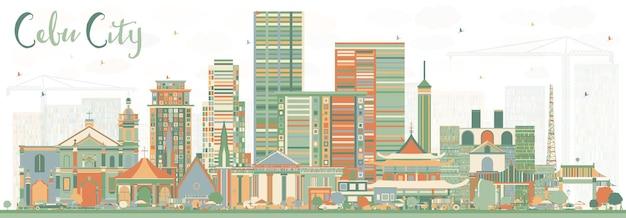 色の建物とセブ市フィリピンのスカイライン。ベクトルイラスト。近代建築と出張と観光のイラスト。