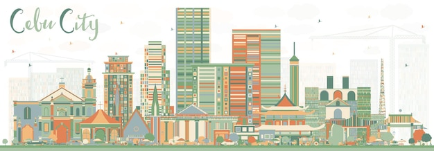 Cebu city philippines skyline with color buildings. vector illustration. business travel and tourism illustration with modern architecture.