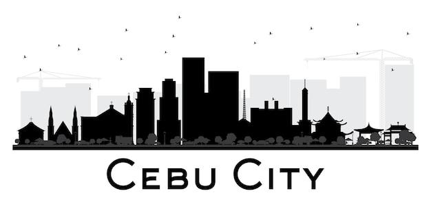 セブシティのスカイラインの黒と白のシルエット。ベクトルイラスト。観光プレゼンテーション、バナー、プラカードまたはwebサイトのシンプルなフラットコンセプト。出張の概念。ランドマークのある街並み。