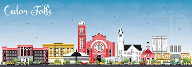 Cedar falls iowa skyline with color buildings and blue sky. vector illustration. business travel and tourism illustration with historic architecture.