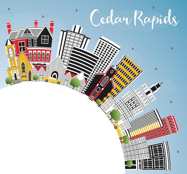색상 건물, 푸른 하늘 및 복사 공간이 있는 cedar rapids iowa city 스카이라인. 벡터 일러스트 레이 션. 역사적인 건축과 비즈니스 여행 및 관광 그림입니다.