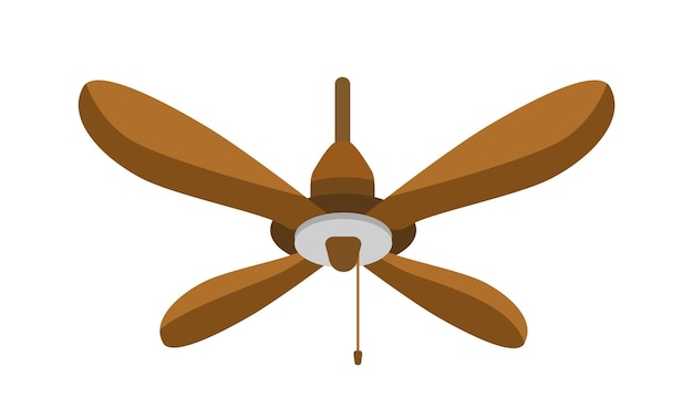 Ceiling fan flat vector illustration. hanging wooden spinning propeller. summer hot air cooling tool isolated on white background. weather control appliance. air conditioning household equipment.