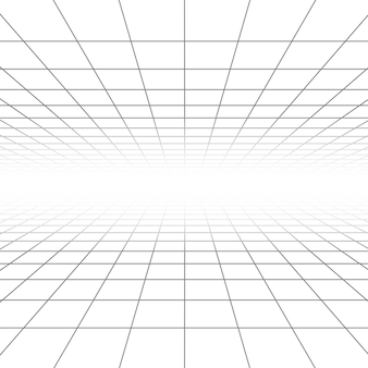 Ceiling and floor perspective grid lines, architecture wireframe