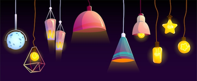 Ceiling lamps and electric bulbs incandescent glowing set
