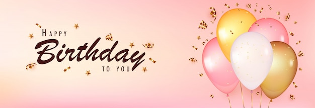 Celebrate birthday template. pink background with realistic balloons with gold confetti.