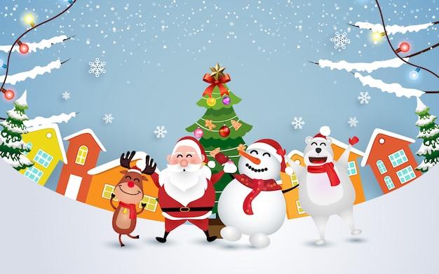 Празднуют рождество с забавным дедом морозом, снеговиком, оленем и медведем
