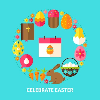 Celebrate easter postcard. poster design vector illustration. collection of spring holiday objects.