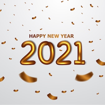 Celebrate happy new year. party with golden balloon foil text 2021 with flying gold confetti.