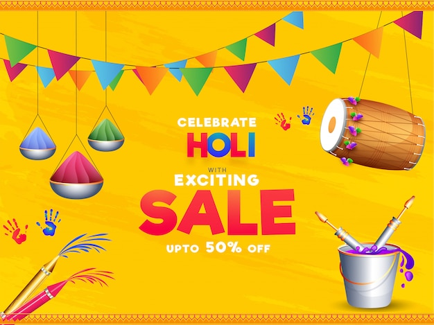 Celebrate holi with exciting sale poster design with 50% discount offer