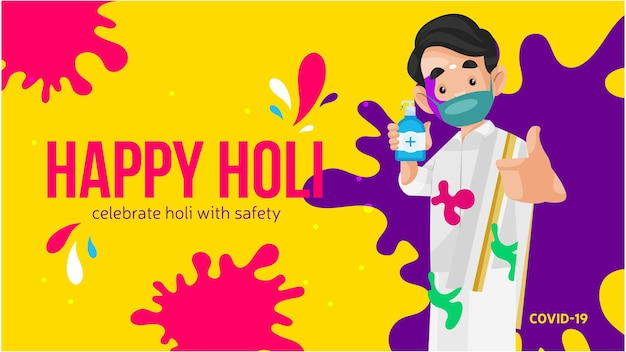 Celebrate holi with safety banner design with a man holding sanitizer in hand