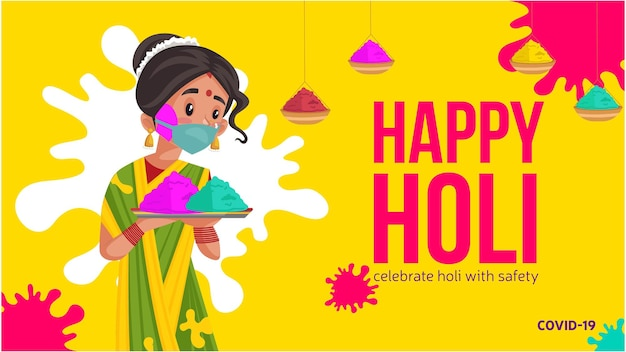 Celebrate holi with safety banner design with a woman holding colors plate in hand