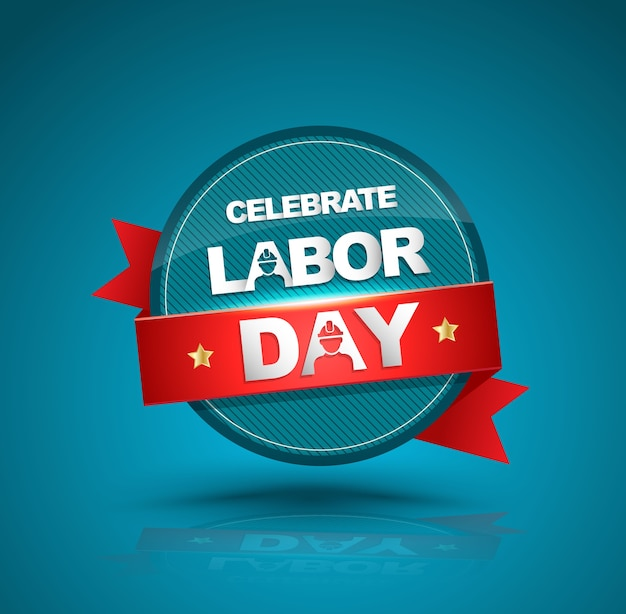 Celebrate labor day badge with red ribbon