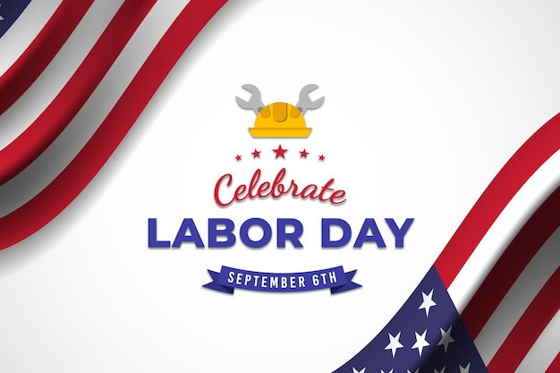 Celebrate labor day banner with american flag premium vector