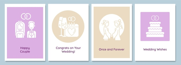Celebrate marriage day greeting cards with glyph icon element set. creative simple postcard vector design. decorative invitation with minimal illustration. creative banner with celebratory text