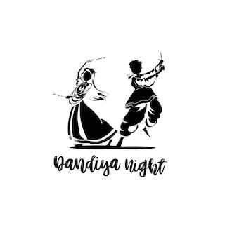 Celebrate navratri festival with dancing garba design vector, hand drawn vector illustration.