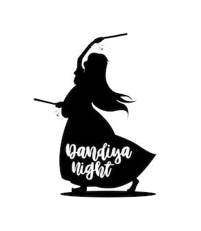 踊るガルバデザインベクトル、手描きのベクトルイラストでナヴラトリフェスティバルを祝います。