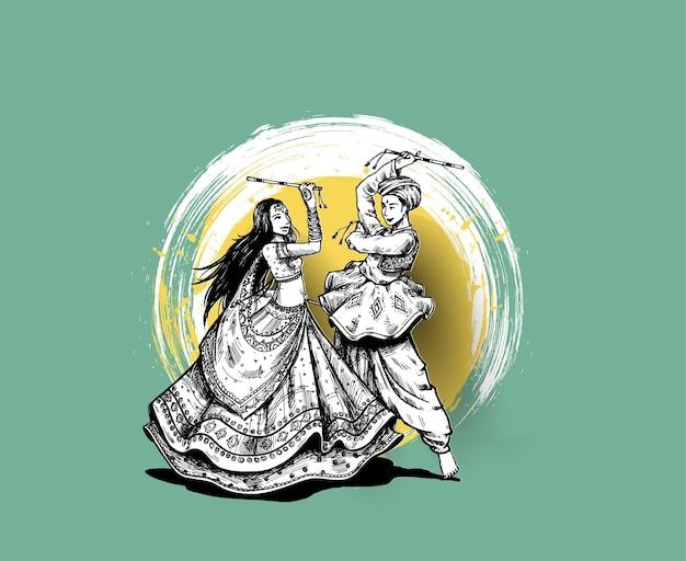 Отпразднуйте фестиваль наваратри с танцующим гарба, мужчиной и женщиной, вектором дизайна, рисованной векторной иллюстрацией.