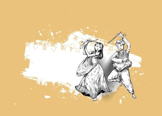 踊るガルバの男性と女性のデザインベクトル、手描きのベクトルイラストでナヴラトリフェスティバルを祝います。