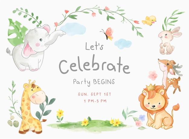 かわいい動物のイラストでパーティーカードテンプレートを祝う